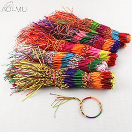 Нить радужный браслет онлайн-AOMU Wholesale Lucky Friendship Braided Rope String Bracelet Rainbow Thread Woven Ankle Bracelets Beach Bohemian Anklet Jewelry