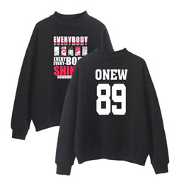 Wholesale Korean Style Men S Clothing - SHINee Kpop Anime Turtlenecks Hoodie Member Name Printed Sweatshirt Women Men Korean Style Fashion Kpop Hoodie Jonghyun clothes