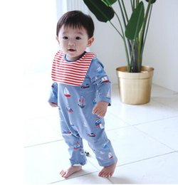 Wholesale Infants Milk - Ins New cute fall infant Kids Long Sleeve round collar little boat banana print Romper sets baby Climb Soda-Milk high quality romper