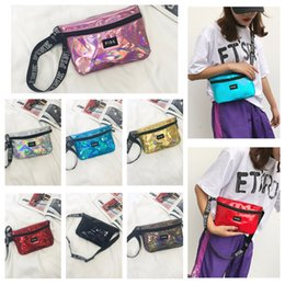 Wholesale pink gym bags - Laser Pink Fanny Pack Clutch 9 Colors Waist Belt Bag Fashion Beach Purse Bags Waterproof Handbags Purses Mini Cosmetic Bag
