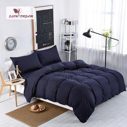 Ropa de cama de impresión activa online-SlowDream Fashion Dark Blue sólido juego de cama edredón funda nórdica Active Printing Set ropa de cama textiles para el hogar varios tamaños