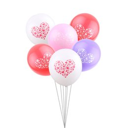 Wholesale red heart balloons - New multi-color printed heart milk latex balloon Valentine's Day happy birthday wedding decoration kids flying heliium toys