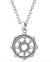 Roda de ligação on-line-Myshape moda liga de zinco esmalte cinza budista símbolo dharma roda elo da cadeia mulheres e homens pingente de colar de jóias
