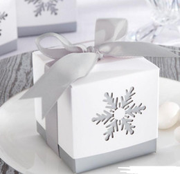 print squared paper Coupons - Snowflake candy box birthday wedding party square hollow favor boxes with grey ribbon bow Halloween Christmas present gift wrap 6X6x6cm
