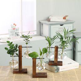 Vasi da fiori in legno online-Vasi per piante idroponiche Vaso per fiori vintage Vaso trasparente Vaso per fiori in vetro con cornice in legno Vaso per fiori decorativo per bonsai
