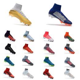 Wholesale Kids Cleats Shoes Soccer - New 2018 CR7 Football Boots Size 35-45 Mercurial Superfly V AG FG Soccer Shoes Mens Women Kids Outdoor Soccer Cleats