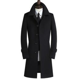 Черные платья онлайн-Черно-серый хаки случайные с длинным рукавом шерстяное пальто мужские однобортные пальто мужские шерстяные пальто платье зимний плащ мода