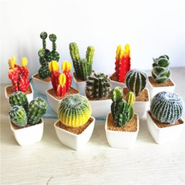 Wholesale Black White Vases - Artificial Succulent Plant Real Touch Simulation Desert Cactus With White Vase Series Christmas Decoration For Home Garden Decor