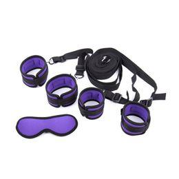Juego de pc bondage online-1 pcs / lot Purple Under Bed Restricciones de Bondage Sexual s Ankle s Blindfold Adultos Juego de Juguetes Sexuales para Parejas Y18100802