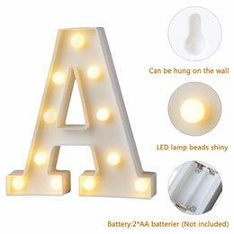 Wholesale Alphabet Sign - 1pc Fun White Plastic Letter LED Night Light Marquee Sign Alphabet Lights Lamp Home Club Outdoor Indoor Wall Decoration T0.2