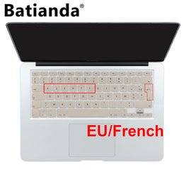 "Wholesale Laptops French Keyboard - EU French AZERTY Gold Keyboard Cover Silicone Skin for MacBook Pro 13"" 15"" 17"" (with or w out Retina Display) For MacBook Air 13"