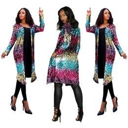 Bling lentejuelas coloridas mujeres largas chaquetas Outwear 2018 recién llegado de cuello redondo manga larga delgado señora abrigos con bolsillos imágenes reales desde fabricantes