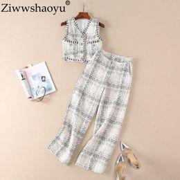 fatos das calças da pista das mulheres Desconto Ziwwshaoyu Novo Outono Inverno Designer Runway Suit Set mangas das mulheres Xadrez TVest Calças Set