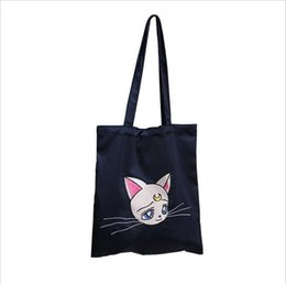 red hand bag for girls Promo Codes - Cat Embroidered Satin Silk Canvas Should Tote Bag For Women Ladies Girl Female Hand Bags Fashion Cute Handbag Shopping Totes Bag