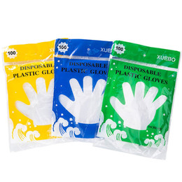 Wholesale Transparent Food Bag - Cheapest Disposable food grade disposable gloves 100pcs bag transparent thickened beauty housekeeping health gloves with colorful retail bag
