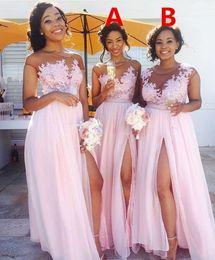 abendkleid brautkleider Rabatt Country Blush Pink Brautjungfernkleider Sexy Sheer Jewel Neck Lace Appliques Trauzeugin Kleid Split Formale Abendkleider Hochzeit Gast Wear