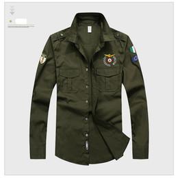 новый мужской дизайн Скидка 2018 Новый ВВС один чистый хлопок мужчины рубашка Марка случайные военные энтузиасты вышивка MA1 с длинным рукавом Slim Fit Мужские рубашки M-3XL