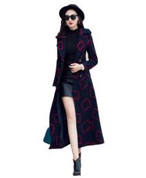 2018 Popular Plaid Coats Winter Woolen Coat Temperament Lapel Super Long Woolen Coat Female Long Knee Women Winter Coat With Belt