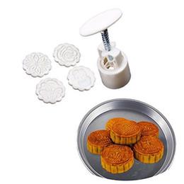 Инструменты лунного пирога онлайн-Wholesale- new arrival 3-D Moon Cake Mooncake Decoration Mold Mould 100g Flowers Round 4 Stamps DIY Tool fondant decorative punch set