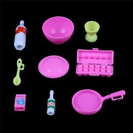 menina miniatura menina Desconto 10 Pçs / set Dollhouse Cozinha Mini Copo De Plástico Placa Decoração Brinquedos Acessórios Miúdos Meninas Miniaturas Presentes de Mobiliário de Mesa