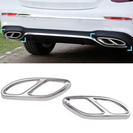 Wholesale Part Class - 2pcs Gloss Steel Exhaust Trims Cover For Mercedes Benz GLC A B C E-Class C207 Coupe 2014-2017 W212 W213 W205 X253 C180 C200 Part Car Styling