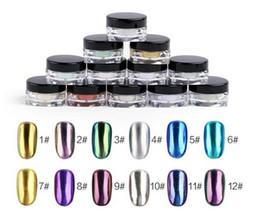 Wholesale Diy Nail Magic - DIY Shinning Chrome Magic Mirror Powder Metal Nail Art Tips Decoration Pigment Glitter Dust Tools DIY Manicure + Sponge Brush