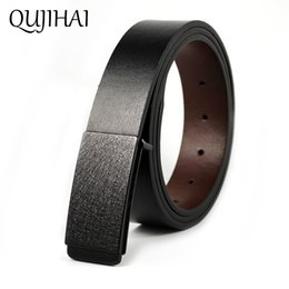 Wholesale leather cowhide strap wholesale - QUJIHAI Frosted Matte Black Smooth Buckle Cowhide Leather Belt For Men Strap Male Smooth Buckle Jeans Casual Designer Brand Belt