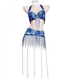 Großhandel 12 Farben Bauchtanz Pfau Bh Anzug Sexy Quaste Perlen Bh Und Gürtel Set Für Frauen Bauchtanz Leistung Kleidung von Fabrikanten