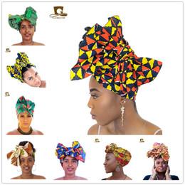 tampas de cabelo africano Desconto Headscarf africano Batik Impresso Pano Cachecol Chapelaria Versátil Chapéu Com Capuz Africano Tecido de Cera Acessórios Para o Cabelo Chemo Gorros Caps