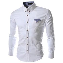 b9a8ce3262 Venta al por mayor primavera otoño Estilo caliente moda caballero hombres  camisas casuales diseño bolsillo color manga larga camisas de vestir  casuales ...
