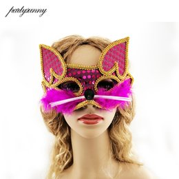 2019 zorro blanco cosplay Animal Party White Purple Rose Fox Cat PVC Máscara Cosplay Party Upper Half Face Máscaras de Halloween para Masquerade Carnaval Regalo zorro blanco cosplay baratos