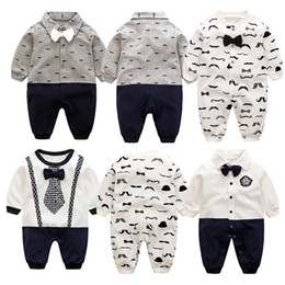 Wholesale cm pants - Baby Boy Gentleman Romper Newborn Baby Pants Bow Tie Soft Cute Clothes Comfortable Material Intant Cotton Costume Kids Clothing