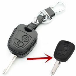 Wholesale Transponder Key Cover - Car Genuine Leather Remote Control Car Keychain Key Cover Case For Peugeot 206 207 307 308 2Button Transponder Key L2196
