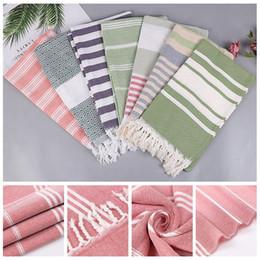 leinenstreifenstoff Rabatt Neue türkische Badetücher Baumwollgewebe Quaste große Strand Handtuch Bettwäsche Yoga Matte 100x180 cm Sommer Erwachsene Streifen dünne Handtuch