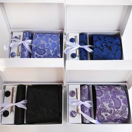la festa indossa per la mens Sconti Nuovo 100% seta classico collo cravatta clip Hanky gemelli set marchio floreale formale usura Business Wedding Party Mens Tie K10