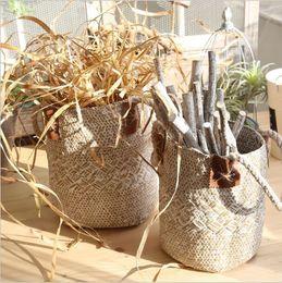 cesta de buquê de flores artificiais Desconto cesta de flores Fleur buquê Natural grama órgão floral vaso de flores Cesta de armazenamento decorar artesanato americano vila de mesa