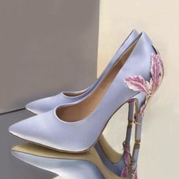 e364408bbc9 Fashion Pointed Toe Stilettos Party Wedding Shoes Woman Slip On Ladies High  Heels Tacones Mujer Metallic Leaves Embellished Satin Silk Pumps