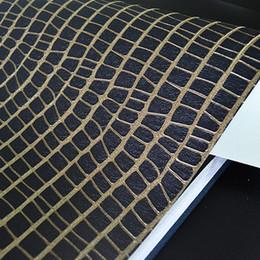 cuero repujado oro Rebajas Diseño de cocodrilo de cuero negro oro en relieve textura moderna decoración rollo de papel pintado
