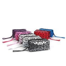 Wholesale cute hand bags - Women Geometric Stitching Clutch Pu Hand Bags Wash Cute Makeup Bag Laser Flash Diamond Cosmetics Organizer Bag 9 Colors LJJO4539