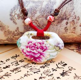 Pastellanhänger online-Keramik Pullover Kette Pastell Pfingstrose Anhänger Anhänger lange Halskette Seil chinesischen Stil Handwerk Kostüm Mode hochwertige Kleidung Frauen Schmuck