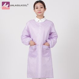 Wholesale Women Transparent Clothing - Waterproof Work Apron Transparent Dots Adult Clothes Long Sleeved Aprons Woman Cooking Household Cleaning Accessories Delantal