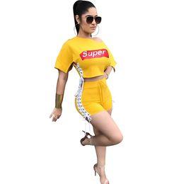 2018 verano nueva moda de impresión dos piezas de mujeres atractivas traje de ocio traje amarillo estilo corto venta al por mayor 0229 (diario de perlas) desde fabricantes