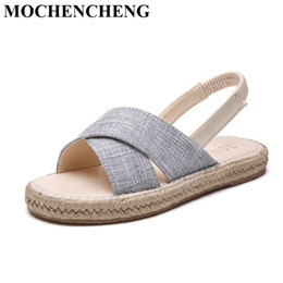 Wholesale Simple Style Sandals - New Summer Women Sandals Casual Shoes Comfortable Hemp Flat Leisure Slippers Open Toe Back Strap Simple Style Women Footwear Z33