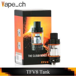 Wholesale tfv4 coils clone - TFV8 Tank Full Kit Clone 6.0ML Top Refill Sub Ohm Tank Airflow V8-T8 V8-Q4 Coil Head Upload TFV4 with Black SS
