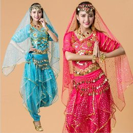 Wholesale Belly Dancing Outfits - 4pcs India Egypt Belly Dance Costumes Bollywood Costumes Dancewear Chiffon Belly Dancing Outfit for Ladies Adult Dance Costumes Sequin