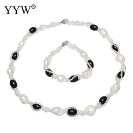 Wholesale Cultured Pearl Necklace Set - Natural Cultured Freshwater Pearl Jewelry Sets Fashion Necklace Bracelets for Women Wedding Bridal African Beads Jewelry Set