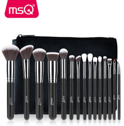 Wholesale synthetic leather case - Quality 15pcs Makeup Brushes Set Powder Foundation Eyeshadow Make Up Brushes Cosmetics Soft Synthetic Hair With PU Leather Case