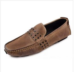 Wholesale boat shoes business casual - 2018 new hot sale design genuine real full grain leather mens fashion business casual shoe breathable men boat shoes