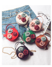 Wholesale one shoulder flower girl - New Flower Princess Purses Girl Handbag Korean Floral kids Chain Bags Fashion Tassel Kids One-Shoulder Bags Baby purse wallet B11
