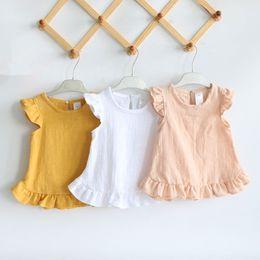 2019 blusa de encaje niña niño Manga de la colmena de verano blusas de las muchachas Tops de algodón de lino del cordón ocasional de la niña camisas para niños ropa de los niños camisas vestido blusa de encaje niña niño baratos